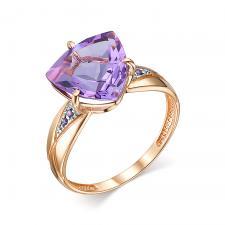 Кольцо (Au 585) 1 радужный кварц триллион 10.0*10.0.*10.0.0.580, 4 фианит