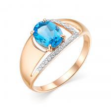 Кольцо (Au 585) 1 радужный кварц овал 8.0*6.0.0.210  21 фианит б/ц