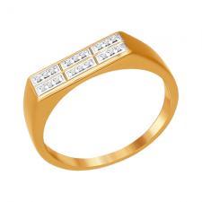 Печатка из золота с фианитами 015411