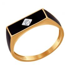 Печатка из золота с эмалью с фианитом 016718